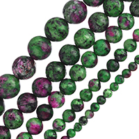 Unakit Perlen, Rubin Zoisit, rund, natürlich, verschiedene Größen vorhanden, Bohrung:ca. 1-2mm, verkauft per ca. 15 ZollInch Strang