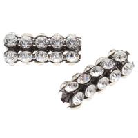Strass Messing Perlen, Trommel, metallschwarz plattiert, mit Strass, frei von Nickel, Blei & Kadmium, 23x9x9mm, Bohrung:ca. 1-2mm, 10PCs/Tasche, verkauft von Tasche