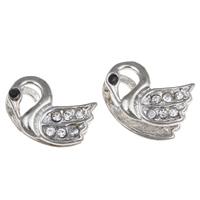 Strass Messing Perlen, Schwan, Platinfarbe platiniert, mit Strass, frei von Nickel, Blei & Kadmium, 16x13x8.50mm, Bohrung:ca. 1-2mm, 10PCs/Tasche, verkauft von Tasche