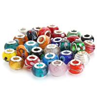 Lampwork Perlen European Stil, handgemacht, Messing-Dual-Core ohne troll & gemischt, 14mm, Bohrung:ca. 5mm, 10PCs/Tasche, verkauft von Tasche