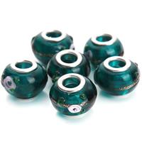 Lampwork Perlen European Stil, Trommel, handgemacht, Messing-Dual-Core ohne troll & uneben & Goldsand, grün, 14mm, Bohrung:ca. 5mm, 10PCs/Tasche, verkauft von Tasche