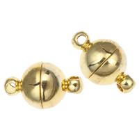 Zinklegierung Magnetverschluss, rund, goldfarben plattiert, Einzelstrang, frei von Blei & Kadmium, 8x13mm, Bohrung:ca. 1.5mm, 10PCs/Tasche, verkauft von Tasche