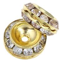 Strass Messing Perlen, Trommel, goldfarben plattiert, mit Strass, frei von Nickel, Blei & Kadmium, 13x7mm, Bohrung:ca. 1mm, 10PCs/Tasche, verkauft von Tasche