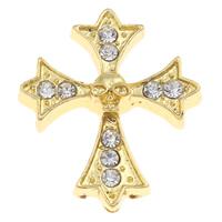 Strass Zinklegierung Perlen, Schwertlilien Kreuz, goldfarben plattiert, mit Strass, frei von Blei & Kadmium, 29x33x7.50mm, Bohrung:ca. 1mm, 10PCs/Tasche, verkauft von Tasche