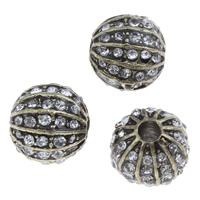 Strass Zinklegierung Perlen, Kürbis, antike Bronzefarbe plattiert, mit Strass, frei von Blei & Kadmium, 9.5x10mm, Bohrung:ca. 1.5mm, 10PCs/Tasche, verkauft von Tasche