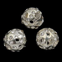 Strass Zinklegierung Perlen, rund, plattiert, mit Strass & hohl, frei von Blei & Kadmium, 10mm, Bohrung:ca. 2.5mm, 10PCs/Tasche, verkauft von Tasche