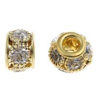 Strass Messing Perlen, Trommel, goldfarben plattiert, mit Strass, frei von Nickel, Blei & Kadmium, 10.5x8.5mm, Bohrung:ca. 3.5mm, 10PCs/Tasche, verkauft von Tasche