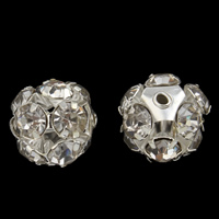 Strass Messing Perlen, rund, silberfarben plattiert, mit Strass, frei von Nickel, Blei & Kadmium, 11mm, Bohrung:ca. 1mm, 10PCs/Tasche, verkauft von Tasche