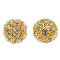 Strass Messing Perlen, rund, goldfarben plattiert, mit Strass, frei von Nickel, Blei & Kadmium, 12x13mm, Bohrung:ca. 2mm, 10PCs/Tasche, verkauft von Tasche
