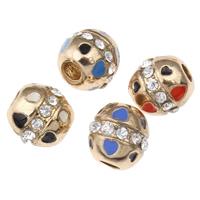 Strass Zinklegierung Perlen, KC goldfarben plattiert, Emaille & mit Strass, keine, frei von Blei & Kadmium, 10x10mm, Bohrung:ca. 4mm, 5PCs/Tasche, verkauft von Tasche