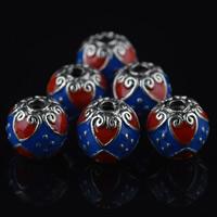 Cloisonne Perlen, Cloisonné, rund, Platinfarbe platiniert, 9mm, Bohrung:ca. 1mm, 10PCs/Tasche, verkauft von Tasche
