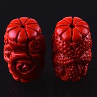 Zinnoberrot Perlen, Cinnabaris, Blume, geschnitzt, verschiedene Größen vorhanden, Bohrung:ca. 3mm, 10PCs/Tasche, verkauft von Tasche