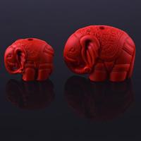 Zinnober Anhänger, Cinnabaris, Elephant, geschnitzt, verschiedene Größen vorhanden, Bohrung:ca. 3mm, verkauft von PC