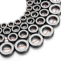 Nicht-magnetische Hämatit Perlen, Non- magnetische Hämatit, Kreisring, verschiedene Größen vorhanden, schwarz, Bohrung:ca. 1mm, verkauft per ca. 15.5 ZollInch Strang