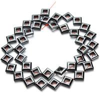 Nicht-magnetische Hämatit Perlen, Non- magnetische Hämatit, Rhombus, schwarz, 8mm, Bohrung:ca. 1mm, ca. 38PCs/Strang, verkauft per ca. 15.5 ZollInch Strang