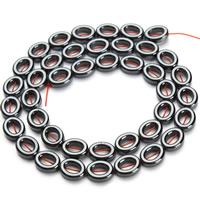 Nicht-magnetische Hämatit Perlen, Non- magnetische Hämatit, oval, schwarz, 8x10mm, Bohrung:ca. 1mm, ca. 38PCs/Strang, verkauft per ca. 15.5 ZollInch Strang