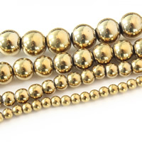 Nicht-magnetische Hämatit Perlen, Non- magnetische Hämatit, rund, goldfarben plattiert, verschiedene Größen vorhanden, Bohrung:ca. 1mm, verkauft per ca. 15.5 ZollInch Strang