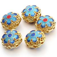 Cloisonne Perlen, Cloisonné, Blume, handgemacht, hohl, gemischte Farben, 16x10mm, Bohrung:ca. 1.5mm, 3PCs/Tasche, verkauft von Tasche