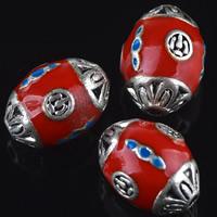 Cloisonne Perlen, Cloisonné, oval, handgemacht, 11x15mm, Bohrung:ca. 2mm, 10PCs/Tasche, verkauft von Tasche