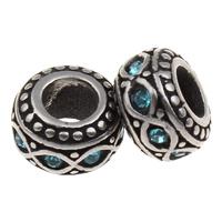 316 Edelstahl European Perlen, Rondell, ohne troll & mit Strass & Schwärzen, 10x6mm, Bohrung:ca. 5mm, verkauft von PC