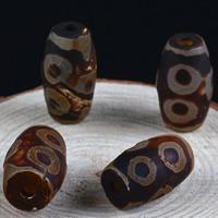 Zwei Ton Achat Perlen, Tibetan Achat, oval, natürlich, zweifarbig, 14x24mm, Bohrung:ca. 1-2mm, 2PCs/Tasche, verkauft von Tasche