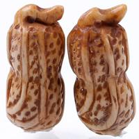 Natürlichen Knochen Anhänger, Rind-Knochen, Erdnuss, Kaffeefarbe, 34x14mm, Bohrung:ca. 1-2mm, verkauft von PC