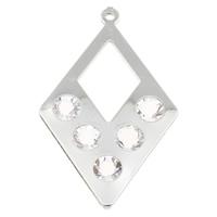 KRISTALLanhänger, Eisen, mit Kristall, Rhombus, Platinfarbe platiniert, facettierte, frei von Blei & Kadmium, 27x44x6mm, Bohrung:ca. 1mm, verkauft von PC