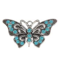 Zinklegierung Tier Anhänger, Schmetterling, antik silberfarben plattiert, mit Strass, frei von Blei & Kadmium, 67x37x4mm, Bohrung:ca. 4mm, verkauft von PC