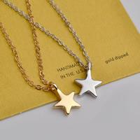 Zinklegierung Schmuck Halskette, Stern, plattiert, Oval-Kette & für Frau, keine, frei von Blei & Kadmium, 10x13mm, verkauft per ca. 15.5 ZollInch Strang