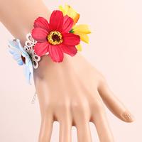 Spitze Armband, mit Polyester & Zinklegierung, mit Verlängerungskettchen von 2.7lnch, Platinfarbe platiniert, für Frau, frei von Nickel, Blei & Kadmium, verkauft per ca. 5.5 ZollInch Strang