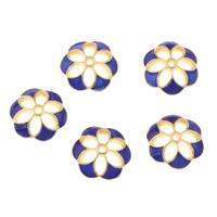 Sterling Silber Cloisonne Perlkappen, Blume, handgemacht, 10x9mm, Bohrung:ca. 1mm, verkauft von PC