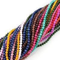 gefärbter Marmor Perle, rund, verschiedene Größen vorhanden, gemischte Farben, Bohrung:ca. 0.8-1.2mm, Länge:ca. 15.5 ZollInch, verkauft von Menge