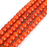 Natürliche Korallen Perlen, Rondell, verschiedenen Qualitäten für die Wahl, rote Orange, 5x7mm, Bohrung:ca. 0.5mm, Länge:ca. 16 ZollInch, 5SträngeStrang/Menge, ca. 80PCs/Strang, verkauft von Menge