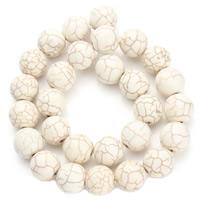 Synthetische Türkis Perle, rund, verschiedene Größen vorhanden, weiß, Bohrung:ca. 1.5mm, verkauft per ca. 15.5 ZollInch Strang