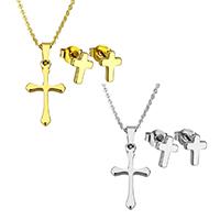 Edelstahl Schmucksets, Ohrring & Halskette, Kreuz, plattiert, Oval-Kette & für Frau, keine, 11.5x20.5x2mm, 1.5x2x0.5mm, 6x8.5x12mm, Länge:ca. 17.8 ZollInch, verkauft von setzen