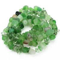 Natürliche grüne Achat Perlen, Grüner Achat, Klumpen, 8-12mm, Bohrung:ca. 1.5mm, ca. 76PCs/Strang, verkauft per ca. 31 ZollInch Strang