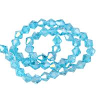 Doppelkegel Kristallperlen, Kristall, facettierte, karibikblau, 6mm, Bohrung:ca. 1mm, Länge:ca. 11 ZollInch, 10SträngeStrang/Tasche, ca. 50PCs/Strang, verkauft von Tasche
