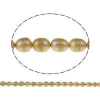 Lagerluft Süßwasser Perlen, Natürliche kultivierte Süßwasserperlen, Reis, gelb, 9-10mm, Bohrung:ca. 0.8mm, verkauft per ca. 15.5 ZollInch Strang