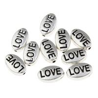 Zinklegierung flache Perlen, flachoval, Wort Liebe, antik silberfarben plattiert, Emaille, frei von Blei & Kadmium, 10x6x4mm, Bohrung:ca. 1mm, 100G/Tasche, verkauft von Tasche
