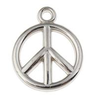 Verkupfertes Kunststoff Anhänger, Verkupferter Kunststoff, Frieden Logo, Platinfarbe platiniert, 15x19x3mm, Bohrung:ca. 1.5mm, 100PCs/Tasche, verkauft von Tasche