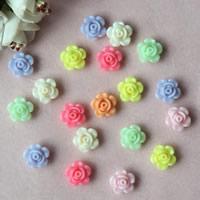 Volltonfarbe Acryl Perlen, Blume, gemischte Farben, 13mm, Bohrung:ca. 1mm, ca. 1100PCs/Tasche, verkauft von Tasche
