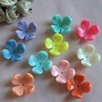 Acryl Perlkappen, Blume, verschiedene Größen vorhanden, gemischte Farben, Bohrung:ca. 1mm, verkauft von Tasche