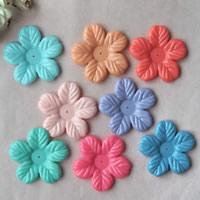 Acryl Perlkappen, Blume, Volltonfarbe, gemischte Farben, 6x52mm, Bohrung:ca. 1mm, ca. 110PCs/Tasche, verkauft von Tasche