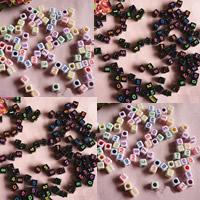 Anzahl Acrylkorn, Acryl, mit einem Muster von Nummer & gemischt & Volltonfarbe, keine, 7mm, Bohrung:ca. 1mm, ca. 1900PCs/Tasche, verkauft von Tasche