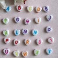 Alphabet Acryl Perlen, mit Brief Muster & gemischt, 8mm, Bohrung:ca. 1mm, ca. 3900PCs/Tasche, verkauft von Tasche