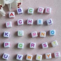 Alphabet Acryl Perlen, mit Brief Muster & gemischt, 7mm, Bohrung:ca. 1mm, ca. 1800PCs/Tasche, verkauft von Tasche