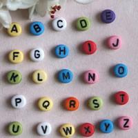Alphabet Acryl Perlen, mit Brief Muster & gemischt, 7mm, Bohrung:ca. 1mm, ca. 3650PCs/Tasche, verkauft von Tasche
