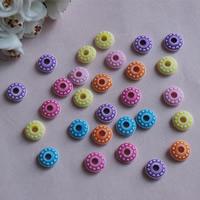 Chemische Wash Acryl Perlen, flache Runde, chemische-Waschanlagen, gemischte Farben, 12mm, Bohrung:ca. 1mm, ca. 1400PCs/Tasche, verkauft von Tasche