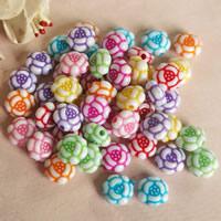 Chemische Wash Acryl Perlen, Blume, chemische-Waschanlagen, gemischte Farben, 11mm, Bohrung:ca. 1mm, ca. 1400PCs/Tasche, verkauft von Tasche