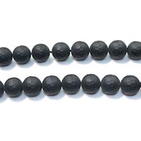 Natürliche schwarze Achat Perlen, Schwarzer Achat, rund, facettierte & satiniert, 12mm, Bohrung:ca. 1mm, Länge:ca. 16 ZollInch, 5SträngeStrang/Menge, ca. 33PCs/Strang, verkauft von Menge